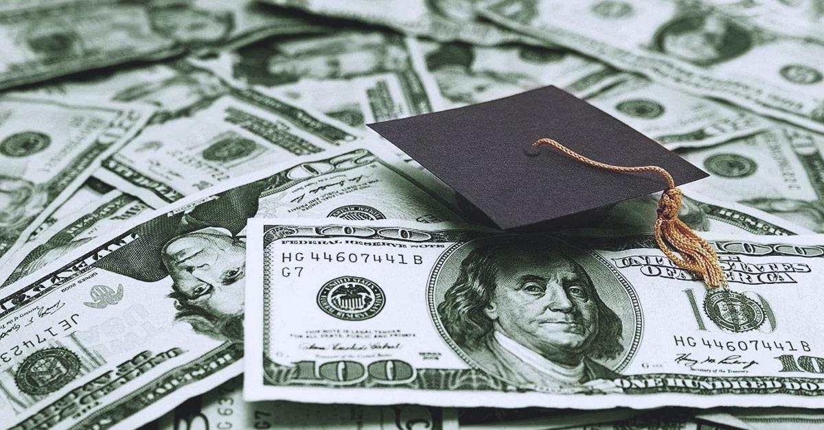 photo of money and a graduation cap