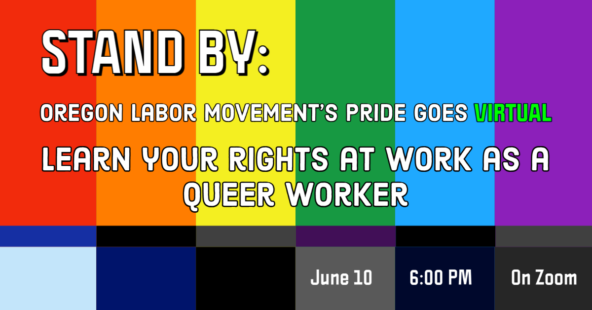 Banner image for panel on 'Learn your rights at work as a queer worker'